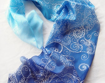 Ice scarf - silk scarf FROST - hand painted silk scarves - blue scarf - ombre scarf - snow scarf - ombre blue snowflakes