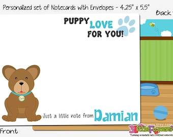 """Puppy Note Cards - Set of Personalized Note Cards - 4.25"""" x 5.5"""" Double-Sided and Printed Cards - Children Stationery - Kids Notecards"""