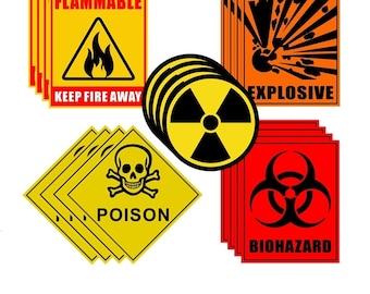 "Outdoor / Indoor Back Adhesive Vinyl (4 Pack) Flammable / Biohazard / Explosive / Radiation / Poison  Sign  4"" to 5"" Warning Label Sticker"