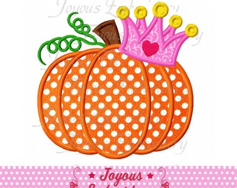 Instant Download Thanksgiving Pumpkin With Crown Applique Embroidery Design NO:1818