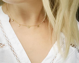 Gold Filled Coin Necklace. Gold Boho Necklace. Tiny Gold Coin Necklace.