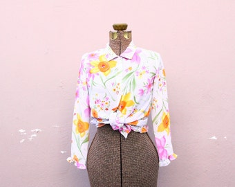 90s floral top - semi sheer long sleeve flower blouse - ruffle trim - tie front crop top - collared button up - kawaii hippie [ small ]