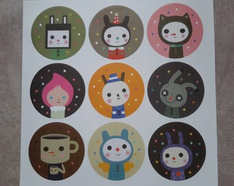 Kids stickers, Bunny stickers Stickers round, multicolored, bullet journal, 3 cm