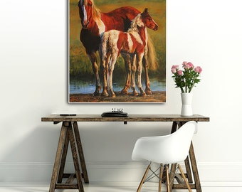 HORSE, original oil painting, 28.7 x 23.6 inch (original painting) Free shipping
