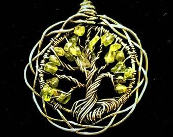 Celtic Peridot Tree of Life Pendant
