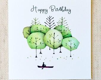 Birthday Card, Birthday Card for Him, Birthday Card for canoer