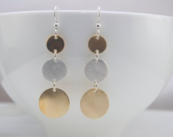 Three disc earrings, Sterling silver and Gold filled disc earrings
