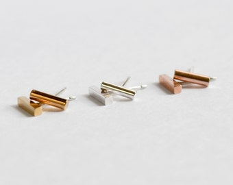 SINGLE Small Bar Stud Earring - Cartilage and Second Hole Earring - Gold, Rose Gold or Sterling Silver Bar - Replacement Earing -Brooklyn NY