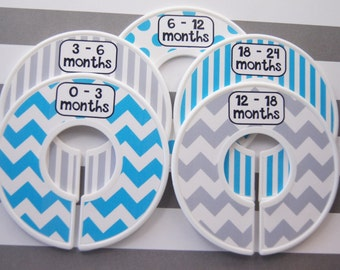 Custom Premade Baby Closet Dividers in Bright Blue and Gray Baby Shower Gift Closet Organizer Assembled Clothes Dividers
