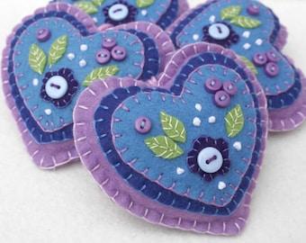 Felt heart ornament, felt Christmas ornament, floral felt heart decoration, handmade felt heart ornament, embroidered heart ornament.