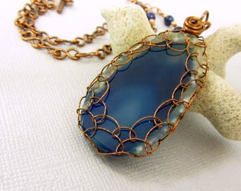 Netted Copper Wire Blue Agate Pendant, Blue Agate Slice Necklace with Copper Spiral Accent, Lapis Beads and Handmade Copper Chain Jewelry
