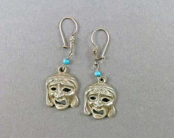 Vintage Sterling Silver Earrings Unusual Earrings Mask Earrings