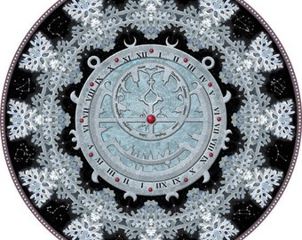 Astrolabe Mandala, Mandala Art Print, Botanical Mandala, Mandala Art, Circle Art