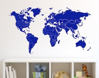 World Map Wall Decal Borders & North America Borders