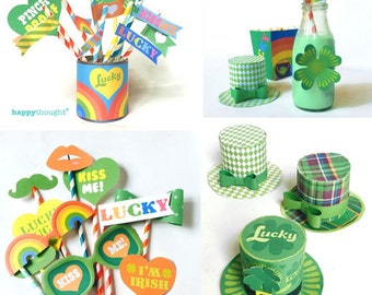 St Patrick's Day party printables to instantly download. 10 PDF party activities, decorations and ideas. Easy DIY templates by Happythought.