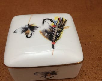 Vintage Eximious Porcelain Box with Vintage Fly Fishing Lures