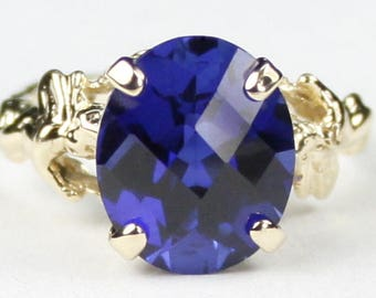 Created Blue Sapphire, 14K Yellow Gold Angel Ring, R154