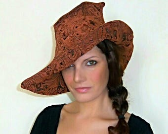 Witch Hat,Orange,Wicca,Magician,Pixie,Halloween,Magic,Elf,Fantasy,Steampunk,Fairy,Burlesque,Vaudeville,Victorian,Gothic,Costume.Fafastyle