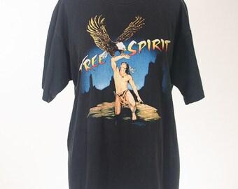 Free Spirit Native American Eagle Premium Vintage Tshirt