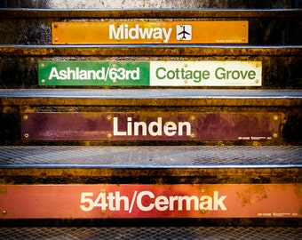 "Chicago, Art, Chicago Photography, L Station, Chicago Train Stops, Urban Chicago, Orange Wall Art, Chicago Print, Travel Print - ""Stops"""