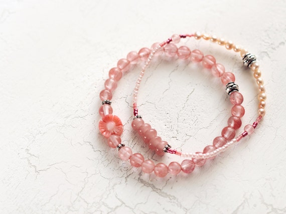 Coral and Pearl Bracelet Set - Pretty Gemstone Bracelets
