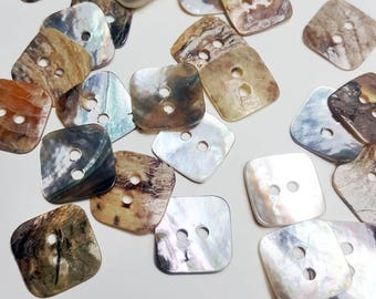 Square Shell Nacre Buttons, Mother of pearl Buttons, Abalone Square Buttons