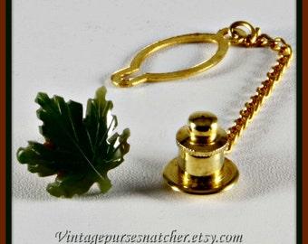 Vintage Jade Tie Tack,Vintage Tie Tack,Vintage Jade Leaf Tie Tack,Vintage Leaf Tie Tack,Vintage Tie Accessories,Vintage Mens Accessories,Tie
