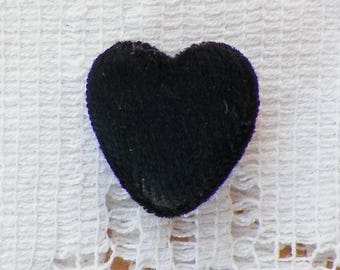 "Vintage Black Velour / Velvet Heart Shaped Button, Metal Shank, Antique Button, Perfume Button, 3/4"" or 19 mm, Crazy Quilt, Embellishment"