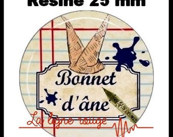 Round cabochon resin 25 mm - donkey Hat stick (1144) - school, class, teacher, student