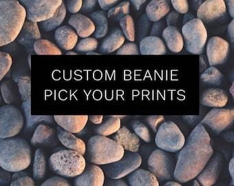 CUSTOM Beanie | Slouchy hat | reversible beanie |baby beanie | toddler beanie | handmade hat | pick your print