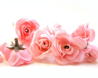 12 Small Pink Roses - Artificial Flower Heads, Silk Flowers - PRE-ORDER