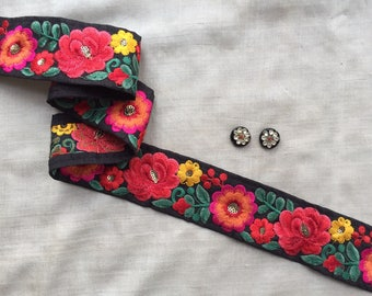 Black Floral Embroidery Indian Trim,Handmade Red Pink Yellow Green Rose Daisy Parsi Lace,Persian Sari Border Spring Flowers,4cm W Price/mtr