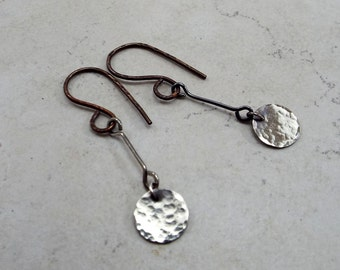 Sterling Silver Minimalist Disc and Textured Copper Earrings