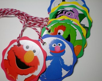 Seasame Street birthday party tags favor bags large tags 12