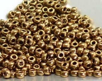 "8/0 Japanese Seed Beads - Metallic Light Bronze 457L (5"" round tube)"