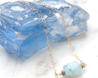 Aquamarine Gemstone Necklace - Gemstone Necklace - Aquamarine Gemstone - Natural Gemstone Jewelry - March Birthstone - March Birthday Gift
