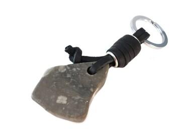 Chunky Grey Keychain Stone and Leather, Black Leather and Stone Keychain Grey Rock Slab, Rough Stone Keychain Leather Wrapped Key Ring