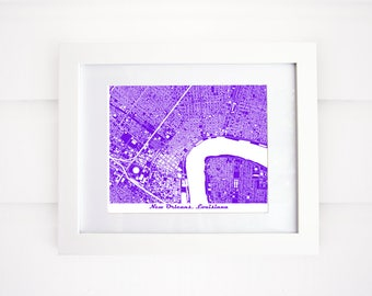 New Orleans Map, Louisiana, More Colors Available!