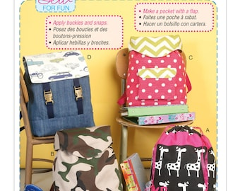 McCalls Sewing Pattern M7207, Backpack, Carry All, Bag Pattern, Contrast Fabric, Front Flap, New Uncut Pattern