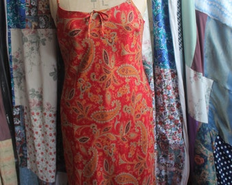 Lined bias cut paisley dress REF 432