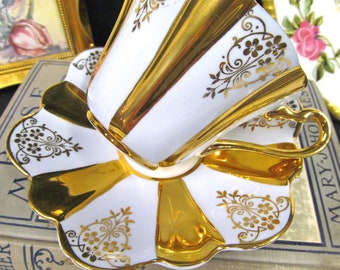 CROWNFORD tea cup and saucer blue & gold gilt footed pattern teacup FLARED