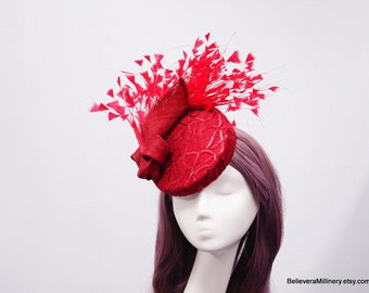 Red Feathers Hat Button Fascinator Hatinator Wedding Spring Racing Carnival Party Special Occasion Melbourne Cup Kentucky Derby Millinery