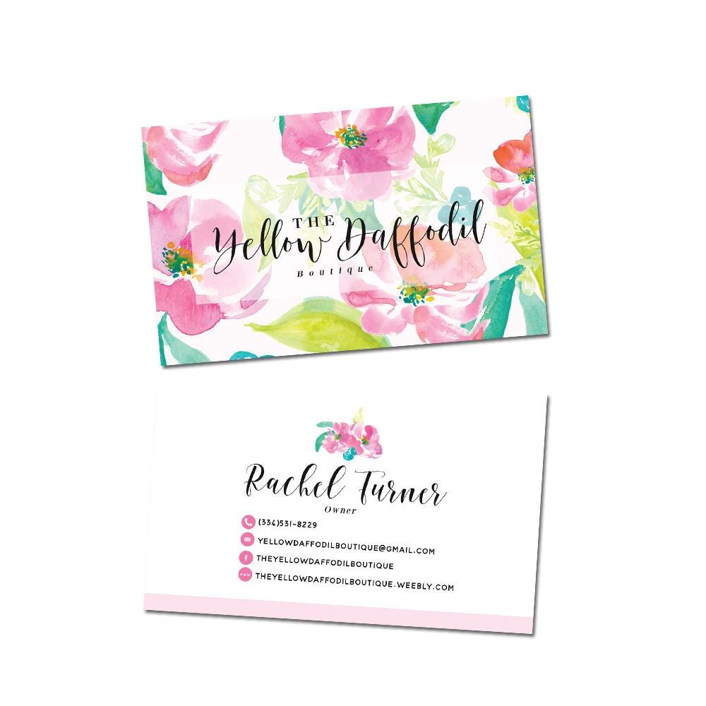 Floral Business Cards Black Calligraphy Logo Design