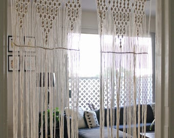 Long 2.5mm natural cotton cord curtain
