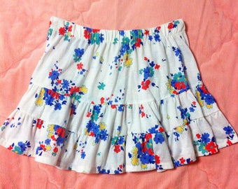 90s Vintage White Floral Mini Skirt, 90s Vintage White Floral Skirt, 90s Vintage Colorful Floral Print Skirt