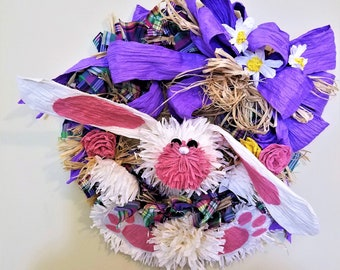 OOAK twist paper ribbon Easter indoor wreath