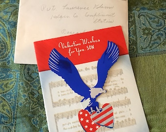 1943-Red,White and Blue Valentine Wishes-for Soldier-Blue Eagle-W/Envelope