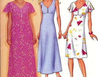 Butterick Pattern 3073 - UNCUT Fast & Easy Misses/Misses Petite Very Easy Dress 14-18