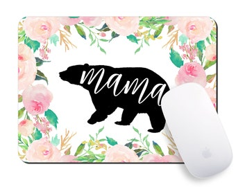 Mouse Pad for Mom, Mama Bear Mousepad, WAHM, Mother's Day Gift Ideas. Desk Accessories, Floral Mousepad, Rectangular Mousepad, Office Decor