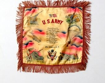 vintage souvenir pillow, US Army satin tourist pillow